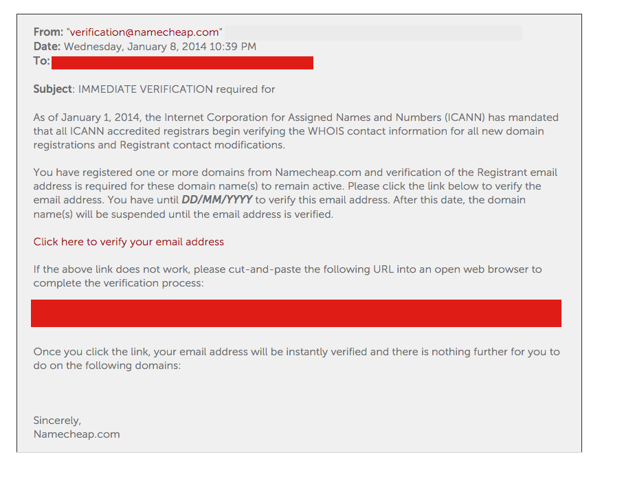 An example of an ICANN domain verification e-mail from your registrar (in this case, NameCheap).